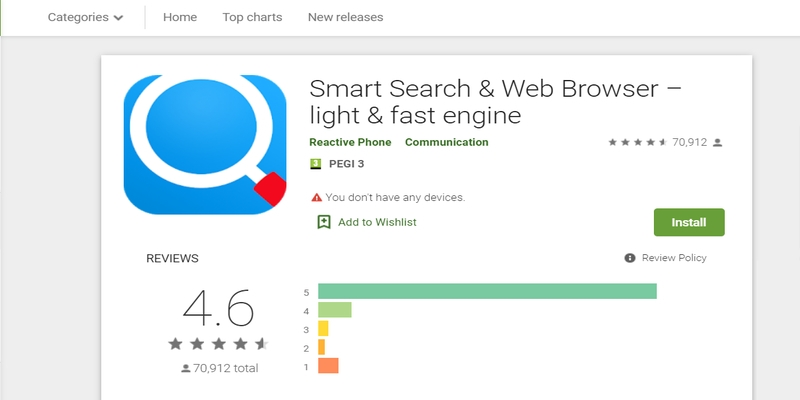 Der Erfolg von Smart Search & Web Browser- light & fast engine